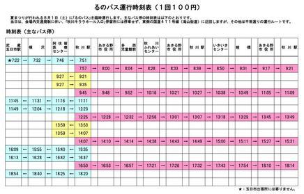 るのバス運行時刻表